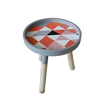 Cvhomedeco Moderne Portable Table Basse Ronde En Bois Amovible Avec
