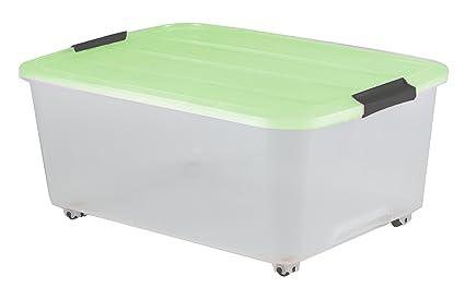 Iris Ohyama Europe Caja de almacenamiento con ruedas, caja de almacenaje, caja con asas