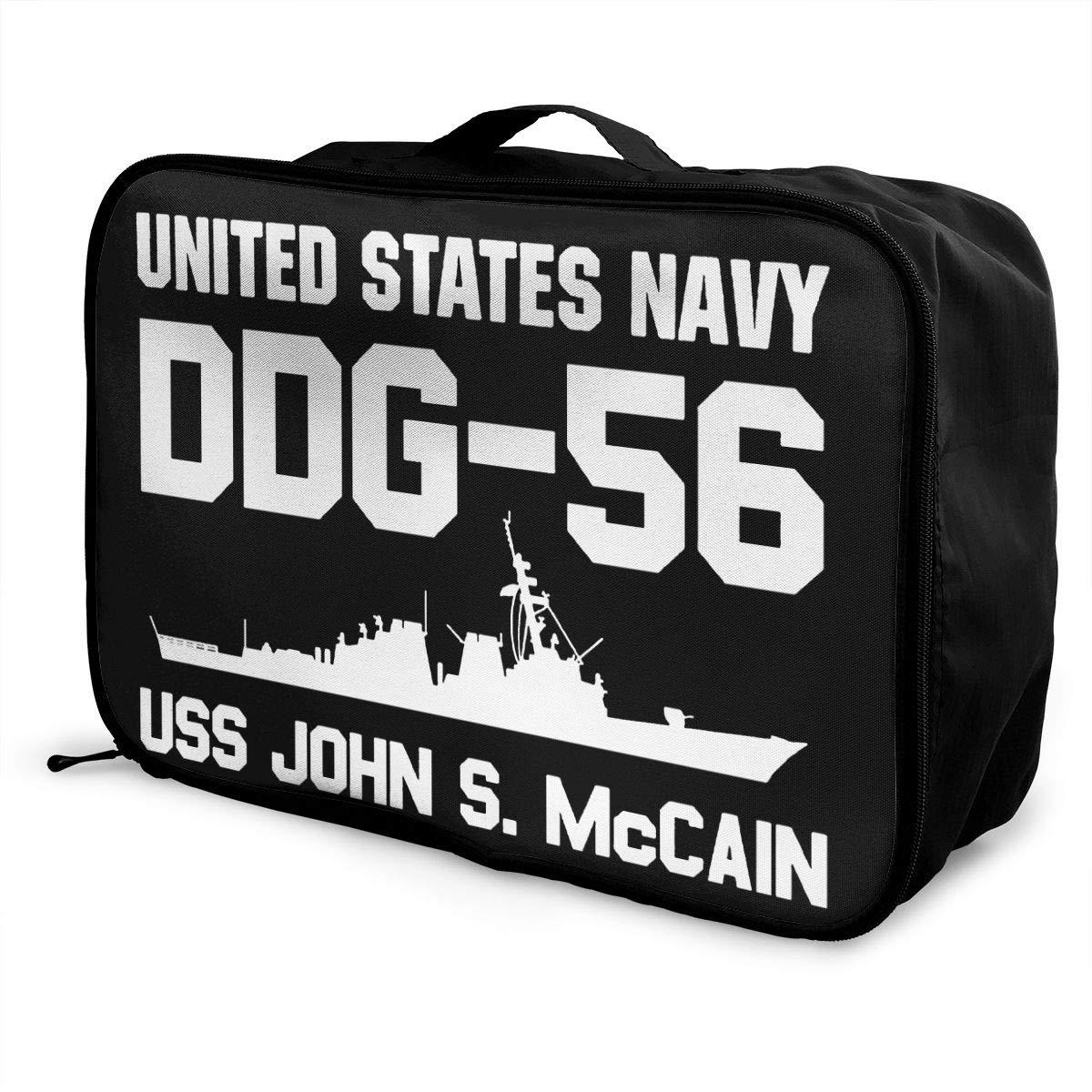 DDG-56 USS John S McCain Travel Bag Men Women 3D Print Pattern Gift Portable Waterproof Oxford Cloth Luggage Bag