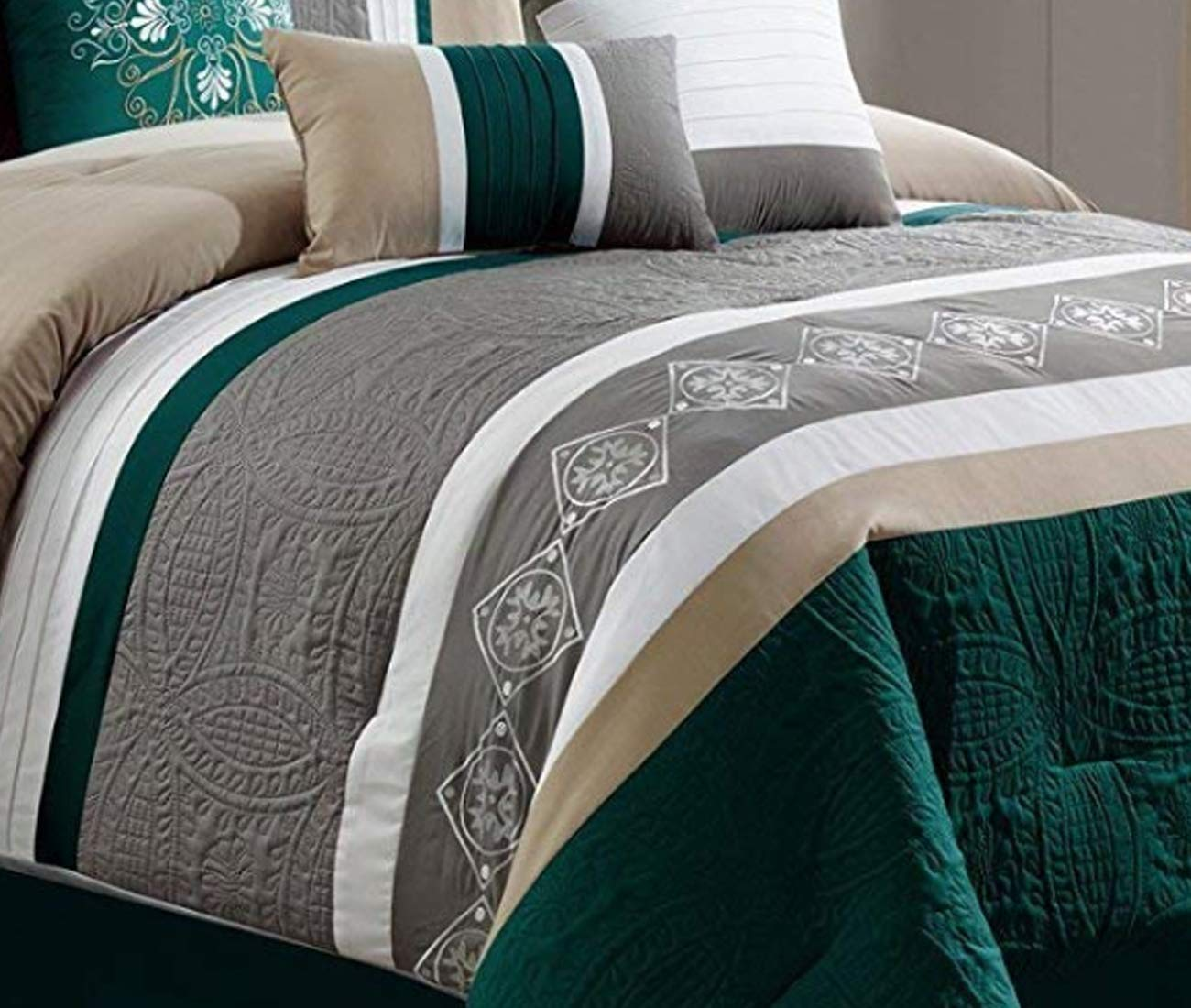 Pink, Queen JBFF 7 Piece Luxury Embroidery Bed in Bag Microfiber Comforter Set
