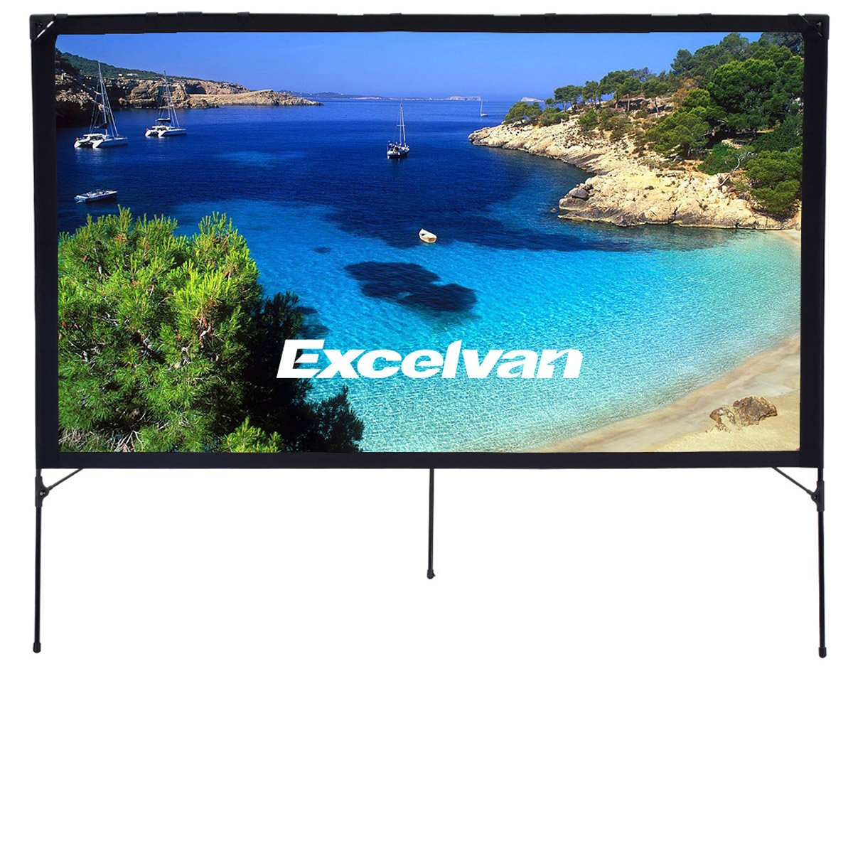 Excelvan Portable Movie Screen 16:9 Indoor Outdoor Projector Screen Foldable DIY Display Screen for Home Cinema Education Office Public Presentations, with Tent Camp Stand(80 inch) by Excelvan