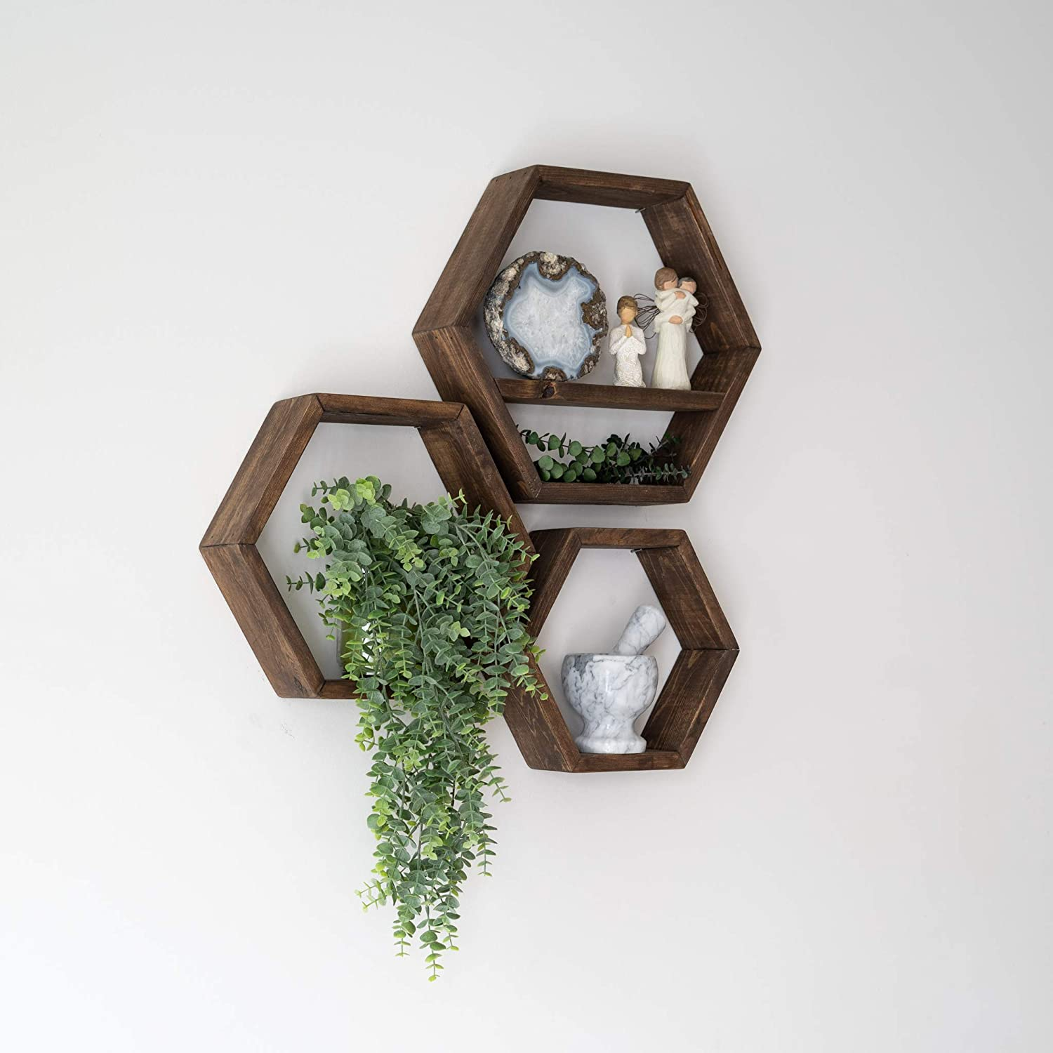 Farmhouse Chic Wall Hexagon Floating Shelves (W) – Set of 3 – Small, Medium and Large – Screws and Anchors Included - Rustic or Modern Shelves for Home, Office, kitchen, – Honeycomb Wall Decor -Walnut