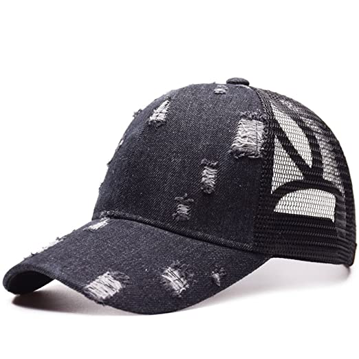 666b016a058 Messy High Bun Ponytail Unisex Ponycap Denim Mesh Baseball Cap Vintage  Trucker Hat