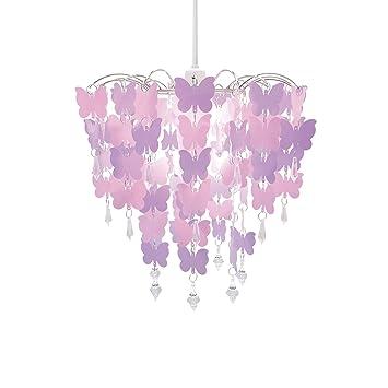 Abat Jour Avec Papillons Pour Enfants Chambre Fille Rose Violet