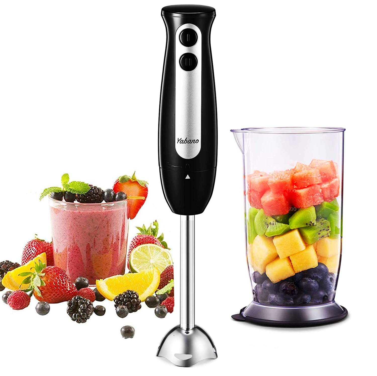 Immersion Blender, Yabano 2 in 1 Hand Blender Stick with 24oz Beaker, 2-Speed Detachable Stainless Steel Handheld Blender, Ergonomic Handle, for Baby Food, Sauces, Soup and Juices, BPA Free