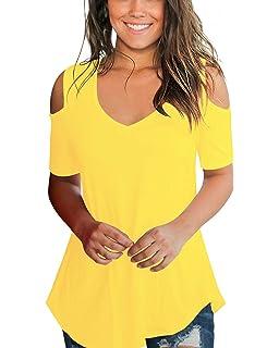 0b98891f1e8 Aolakeke Womens Casual Short Sleeve Cold Shoulder Tunic Tops Loose V Neck Blouse  Shirts
