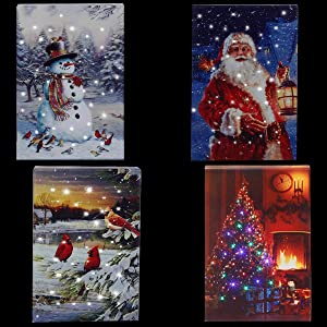 LED Christmas Canvas Wall Art Prints Light Up 4x8 Inches Wall Art Picture Home Decor Desk Christmas Decorations- 4Pack