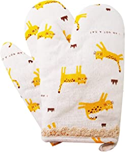 Oven Mitts Kitten Microwave Gloves, Cats Pattern Heat Resistant Quilted Linen Oven Gloves, Cat Oven Gloves for BBQ Cooking Grilling Baking Pot Holder Textiles Kitchen Gloves Basic Oven Mitt-Set of 2