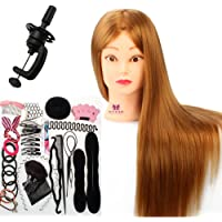Neverland Beauty 66cm 30% Vrais Cheveux Tête d'apprentissage Tête à Coiffer La Formation Cosmétologie Mannequin Head + Hairdressing Outils Accessoires Set