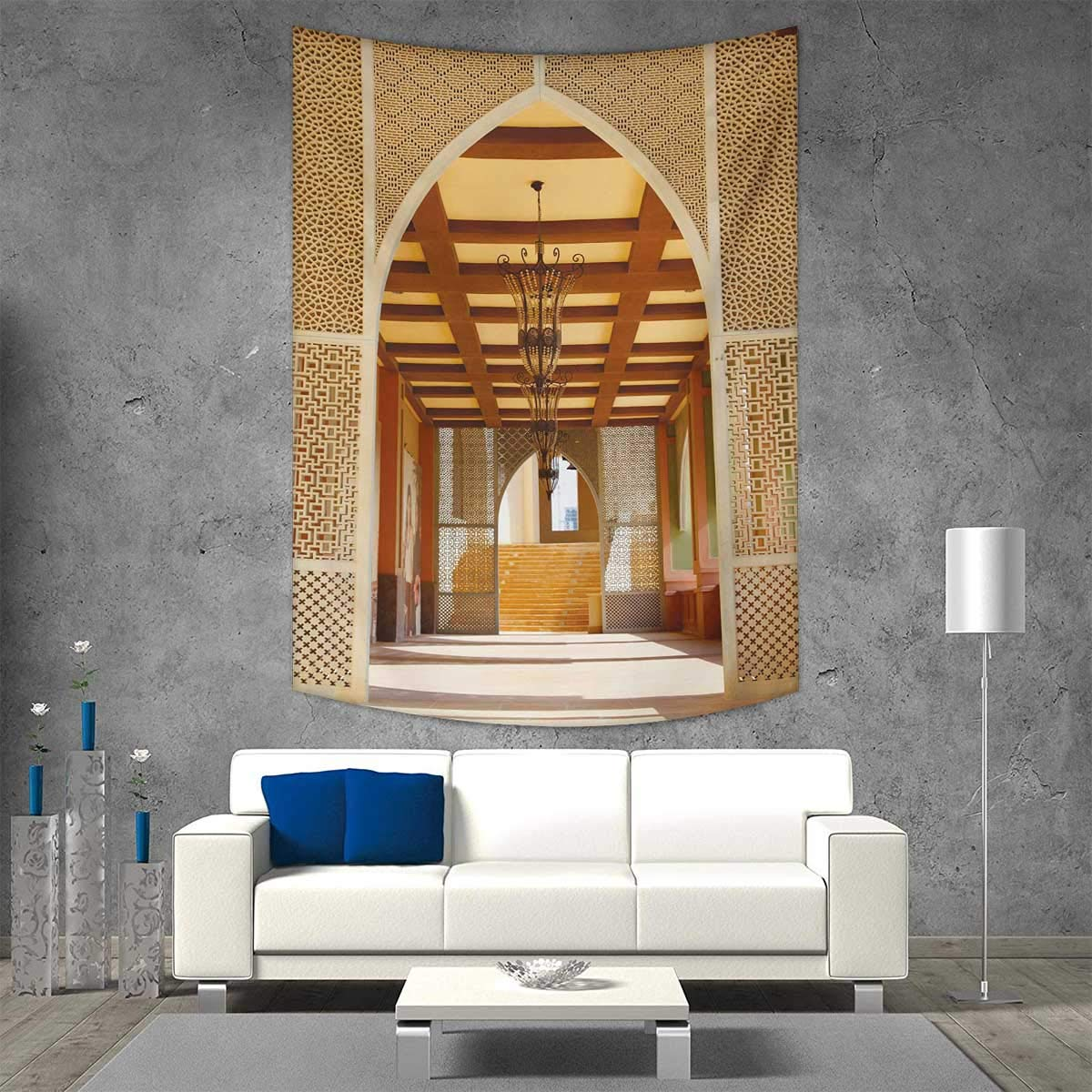 smallbeefly Arabian Vertical Version Tapestry Traditional Arabian Architecture in Doha Qatar Middle East Oriental Landmark Hotel Throw, Bed, Tapestry, or Yoga Blanket 40W x 60L INCH Pale Brown