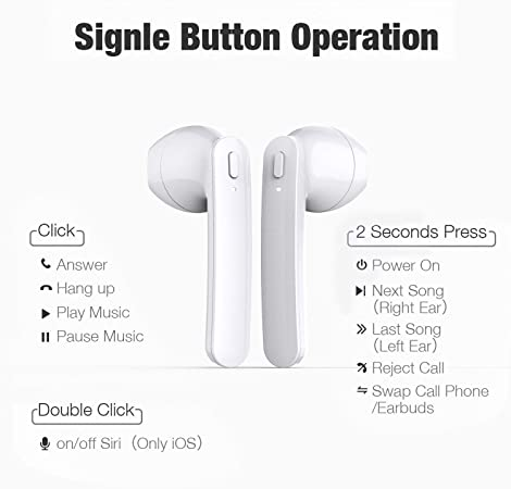 True Wireless Bluetooth Headphones 5.0,in-Ear Wireless Earbuds 30H Cycle Playtime Headphones,Hi-Fi Stereo IPX5 Sweatproof Earphones Sport Headsets Buit-in Mic for Apple Airpods Android iPhone Samsung