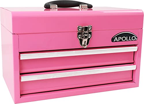 APOLLO TOOLS Pink Metal Tool Box with Deep Top Compartment and 2 Drawers in Heavy-Duty Steel Chest With Ball Bearing Opening And Powder Coated Finish – Pink Ribbon – DT5010P