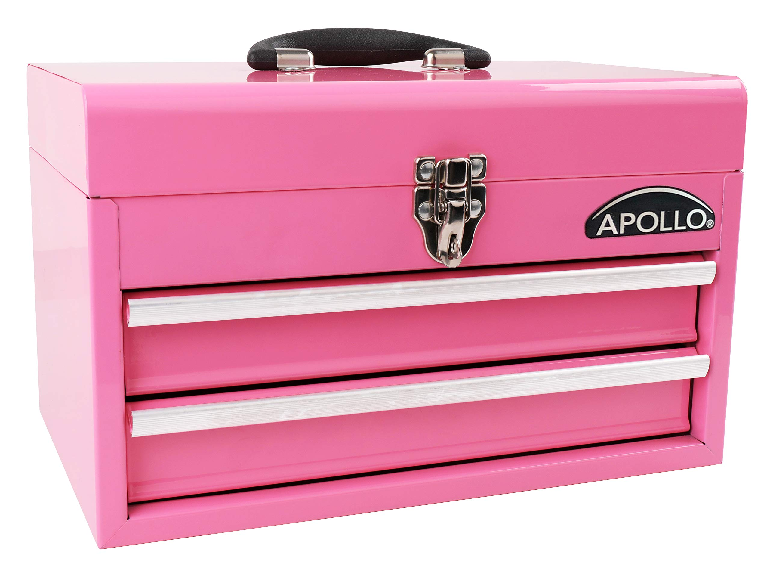 Apollo Tools 2-Drawer Heavy-Duty Steel Chest for Maximum Organization with Ball-Bearing Opening and Powder Coated Finish in Pink DT5010P by Apollo Tools