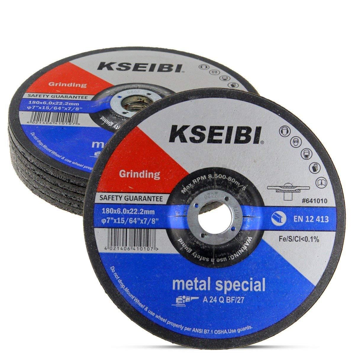 KSEIBI 641014 9-Inch by 1//4-Inch Metal Stainless Steel INOX Grinding Disc Depressed Center Grind Wheel 10-Pack 7//8-Inch Arbor