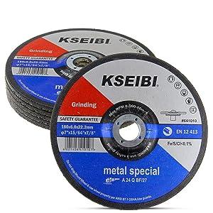 KSEIBI 641014 9-Inch by 1/4-Inch Metal Stainless Steel INOX Grinding Disc Depressed Center Grind Wheel, 7/8-Inch Arbor, 10-Pack
