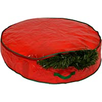 "Christmas Wreath Storage Bag - 30"" X 7"" - Durable Tarp Material, Zippered, Reinforced Handle and Easy to Slip the wreath In and Out. Protect Your Holiday Wreath from Dust, Insects, and Moisture."