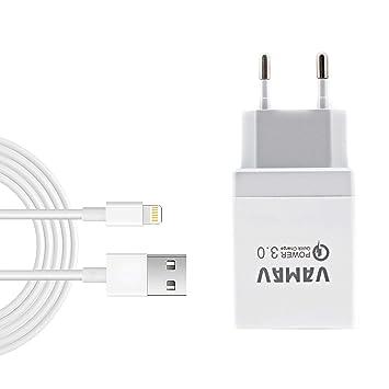 M2 TEC Cargador USB con USB Lighting Carga rápida 3.0 Cargador Universal Móvil/Tablets (Blanco)