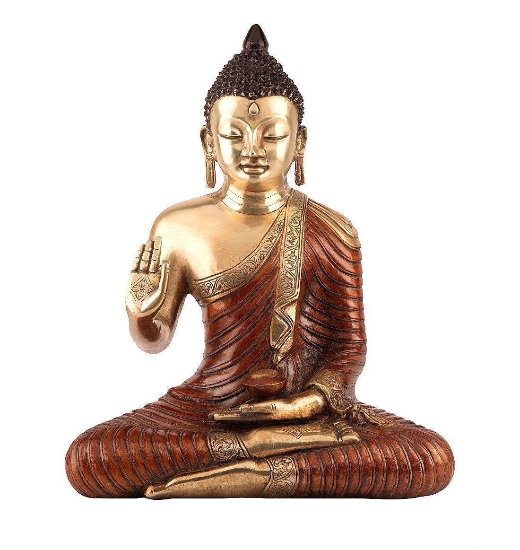 1.3 Ft Large Thai Buddha Statue - Brass Bronze Sculpture - Antique Finish- Home decor Indoor Outdoor Garden Buddha
