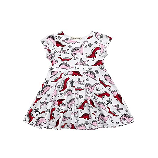2454233309c6 Wenjuan Cartoon Dinosaur Print Sun Dress for Newborn Infant Toddler Kids  Baby Girls Clothes Outfits