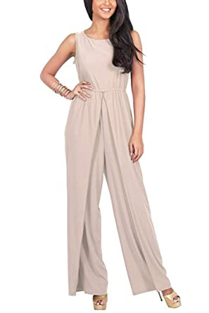 5bdab811830 Amazon.com  Women s Wide Leg Jumpsuit Romper Casual Style Sleeveless ...
