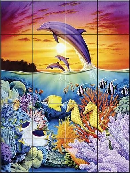 Kitchen backsplash//Bathroom Shower Reef Serenade by John Zaccheo Ceramic Tile Mural