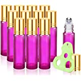 Olilia Glass Roll on Bottles with Metal Roller Balls, Essential Oils Key included 12 Pack of 10ml (Violet - Gold Lids)