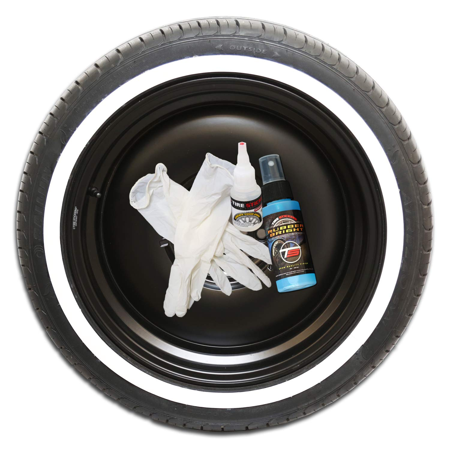Amazon com tire stickers white wall tire kit do it yourself rubber white wall application kit all 4 tires custom sizing thickness automotive