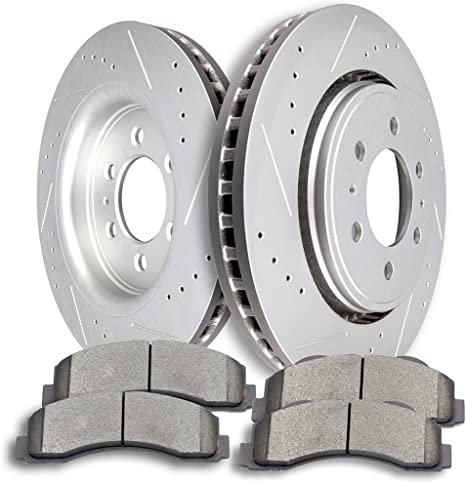 Front Drill Slot Brake Rotors /& Ceramic Pads For Ford F150 Expedition Navigator