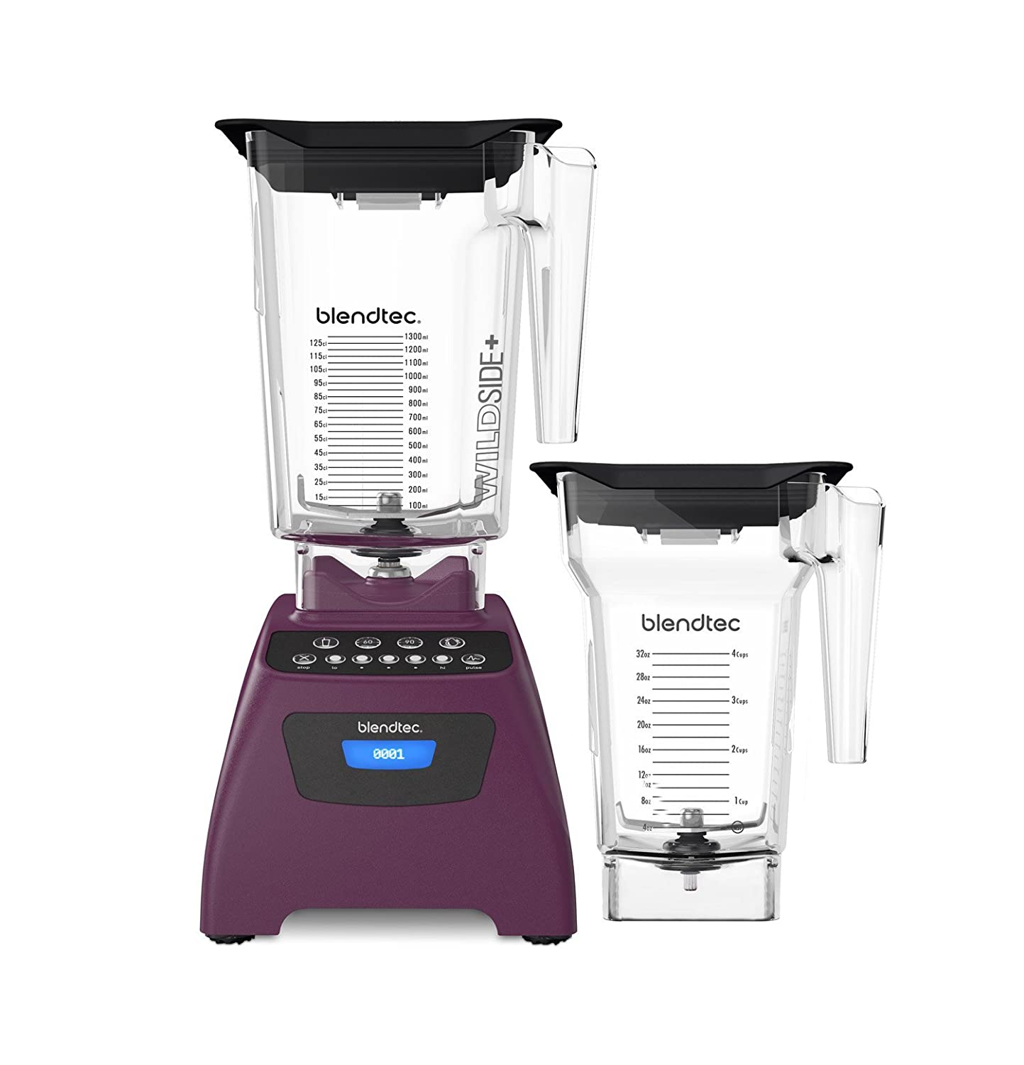 Blendtec Classic 575 Blender with Wildside+ Jar (90 oz) and FourSide Jar (75 oz) BUNDLE, Professional-Grade Power, Self-Cleaning, 4 Pre-programmed Cycles, 5-Speeds, Black, C575A2301A-AMAZON