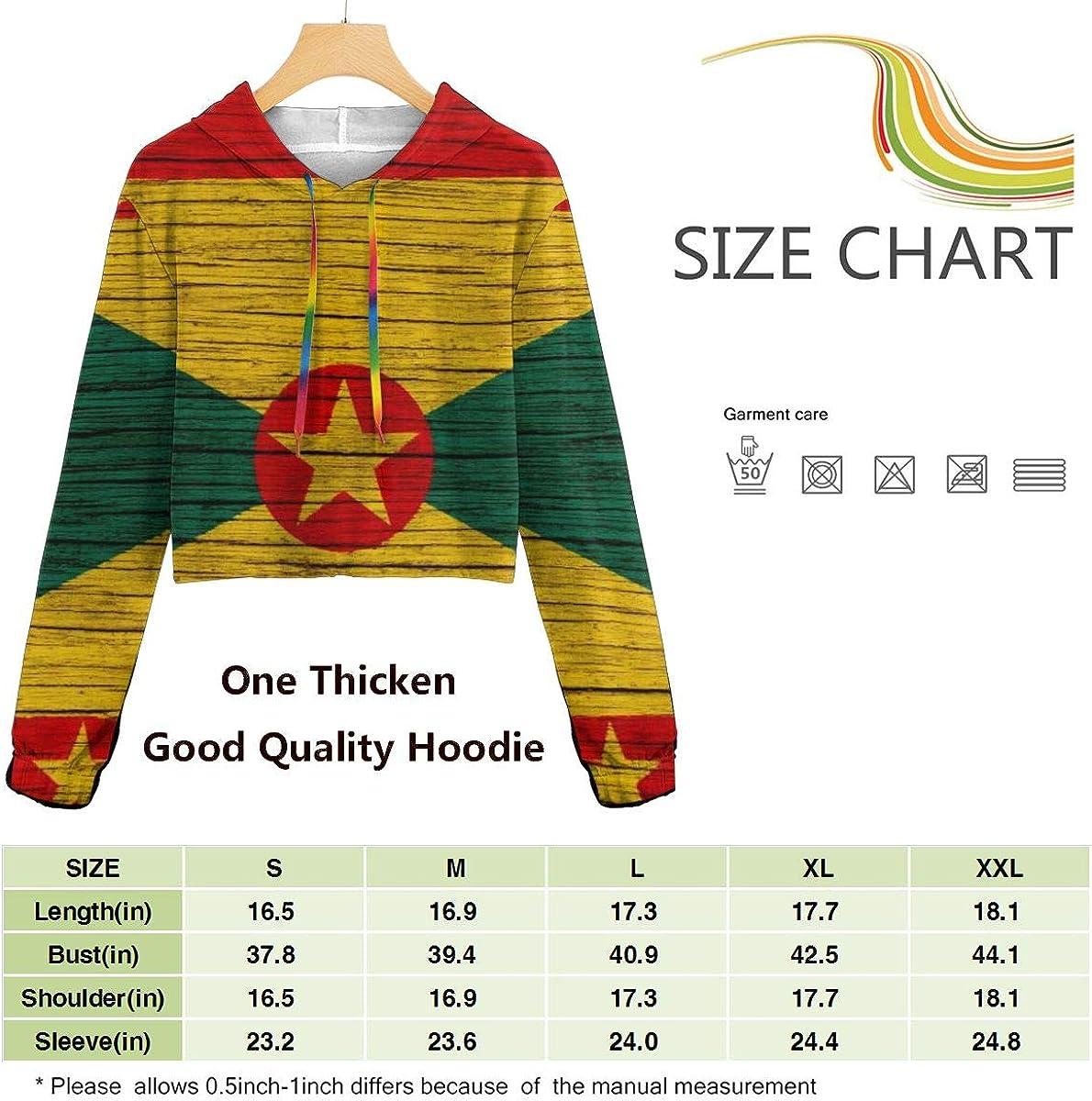 Flag of Grenada Wooden Texture Women Sweatshirt Casual Hoodie Tshirt T Hoodies Cropped Crop Tops