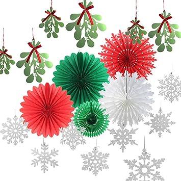 SUNBEAUTY Noel Decoration Nouvel an Chambre Vert Rouge Blanc Kit avec  Flocon de Neige Gui Papier Déco