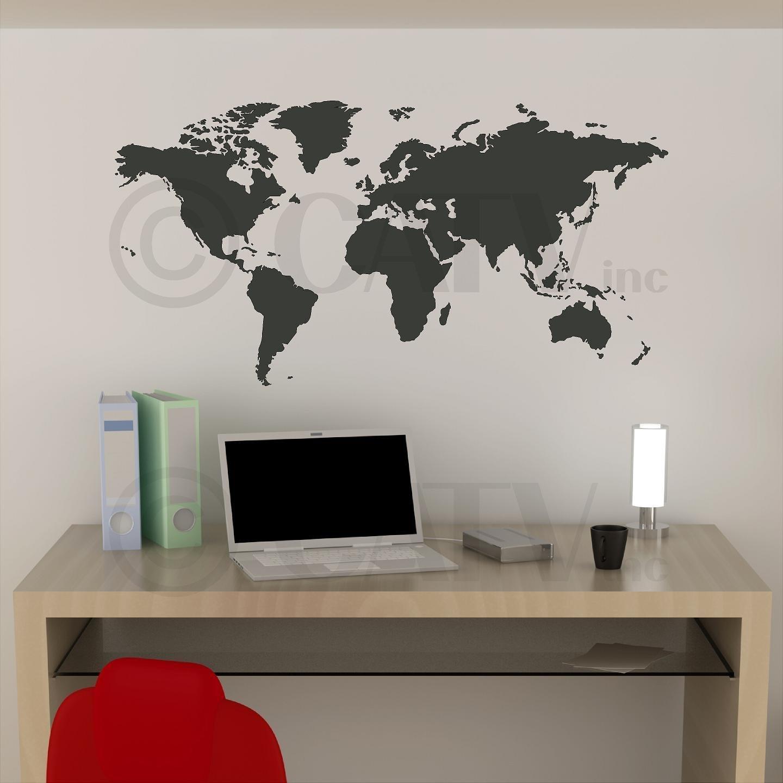 Amazon chalkboard world map vinyl wall decal home kitchen gumiabroncs Choice Image