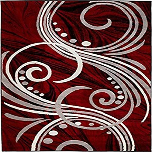 New Summit Elite S49 Burgundy Black Grey Color Transitional Swirl Area Rug Modern Abstract Rug Many Sizes Available 8X11 ACTAUL SIZE IS 7'.4'' X10' .6''