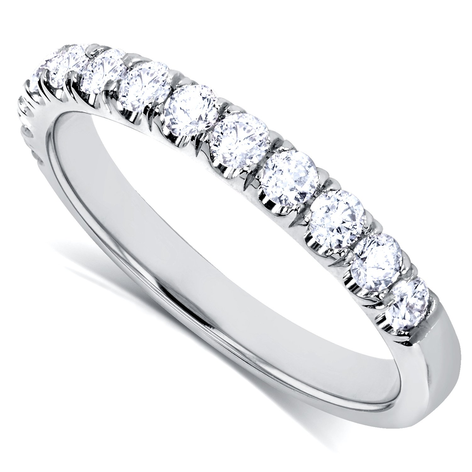 Diamond Comfort Fit Flame French Pave Band 1/2 carat (ctw) in 14K White Gold by Kobelli (Image #2)