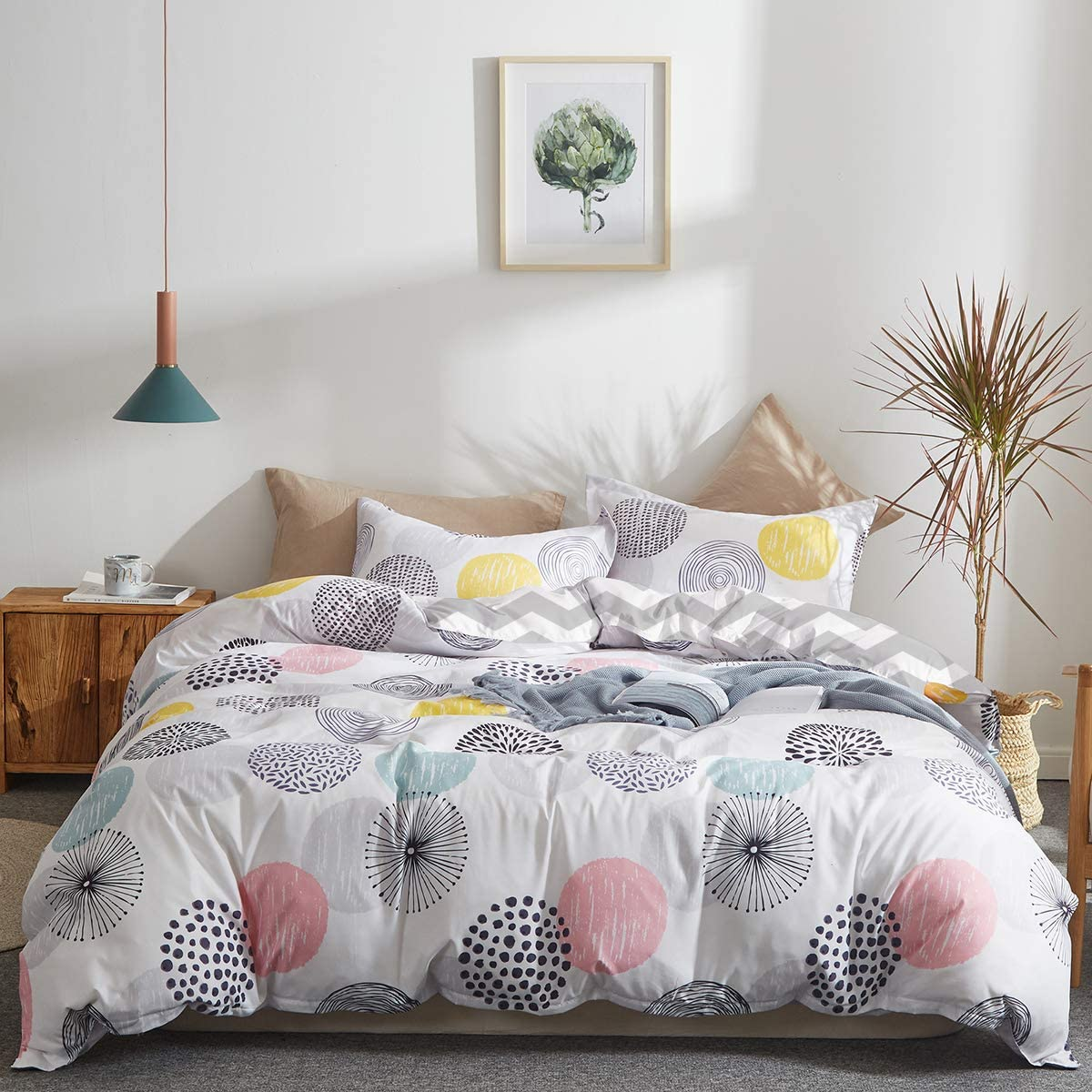Uozzi Bedding Colorful Dots Comforter Set Twin Size Pink Yellow Gray Blue Circles Print Reversible Down Alternative 800 TC Kids Duvet Sets