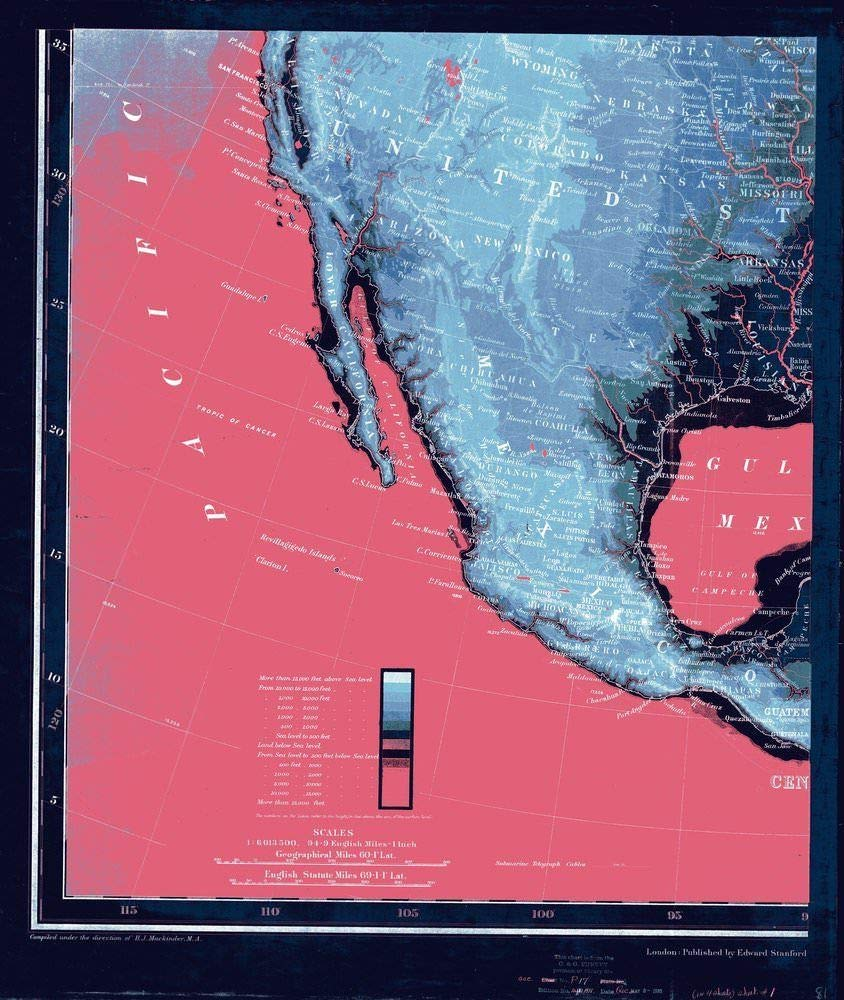 NOAA Blueprint Style 18 x 24 Nautical Chart Stanford's New Orographical Map of North America Stanford 82a
