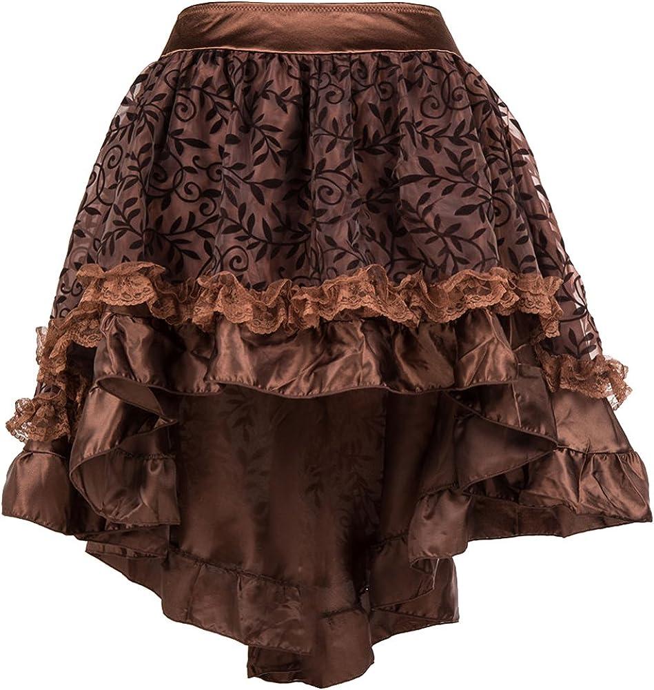ZAMME Faldas góticas ribeteadas de Tul marrón de Las Mujeres para ...
