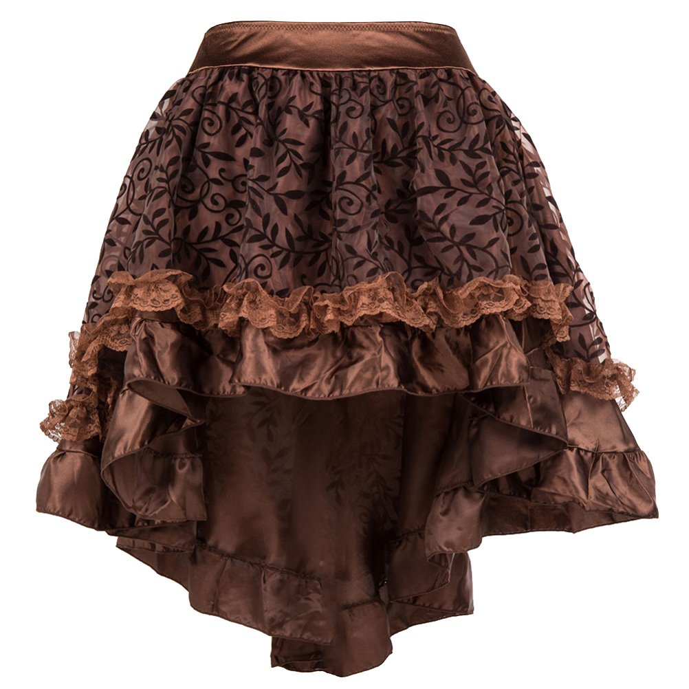 ZAMME Women's Brown Tulle Ruffled Trim Gothic Skirts for Corset Matching CNPWD042