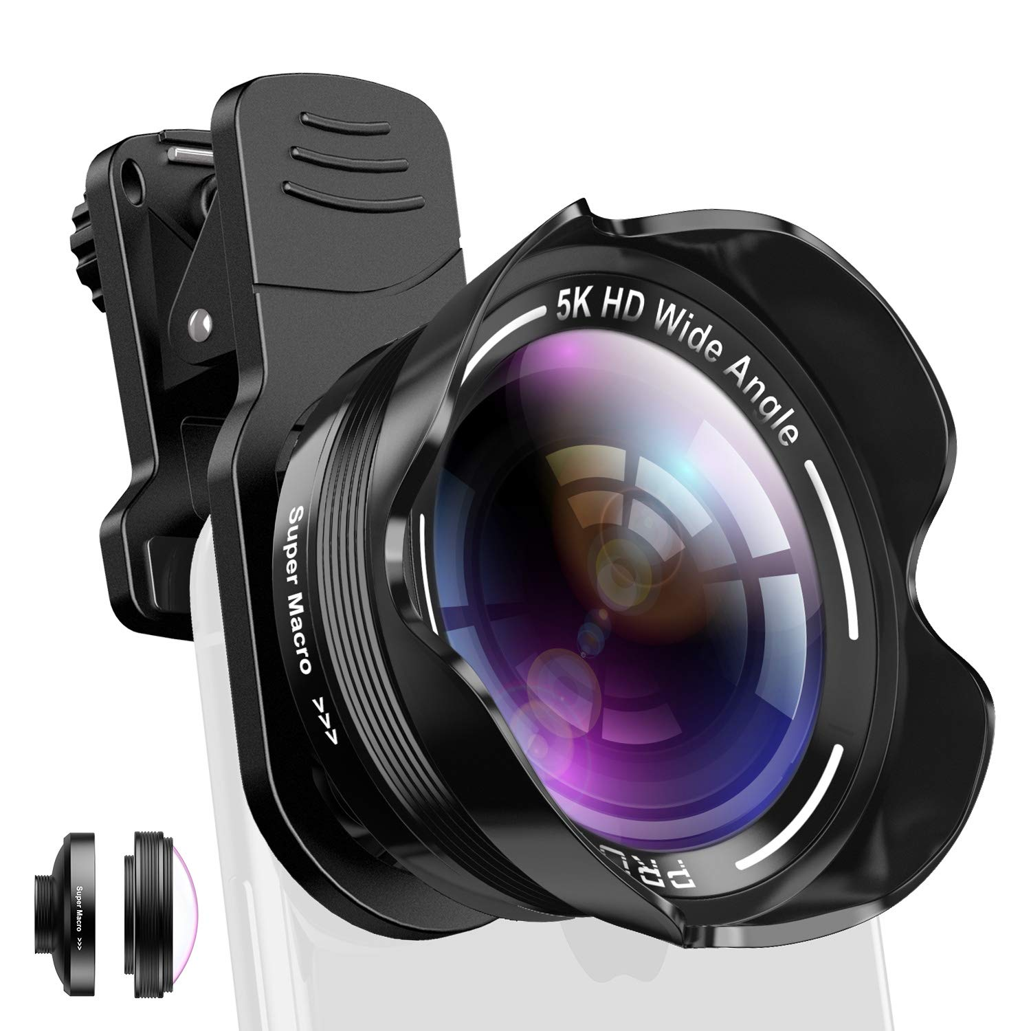 Phone Camera Lens Kit 2 in 1 Pro Camera Lens Kit 15X Macro 5K HD 0.56X Wide Angle for iPhone X XR XS Max 8 7 6S Plus Samsung with Bag and Travel Case by SUFEINI
