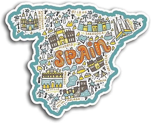 2 x 10 cm España Mapa de vinilo pegatinas Madrid Málaga - Etiqueta de equipaje portátil # 19555 (10 cm de ancho): Amazon.es: Hogar