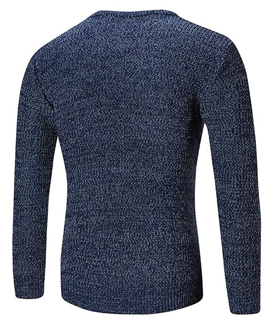 Macondoo Mens Trendy Pure Color Crew Neck Knit Pullover Jumper Sweaters