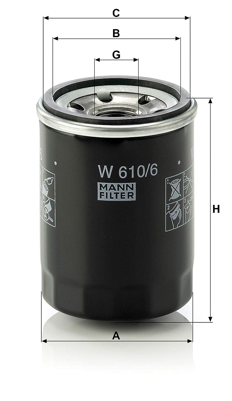 Pour v/éhicules particuliers et v/éhicules utilitaires Original MANN-FILTER Filtre /à huile W 610//6