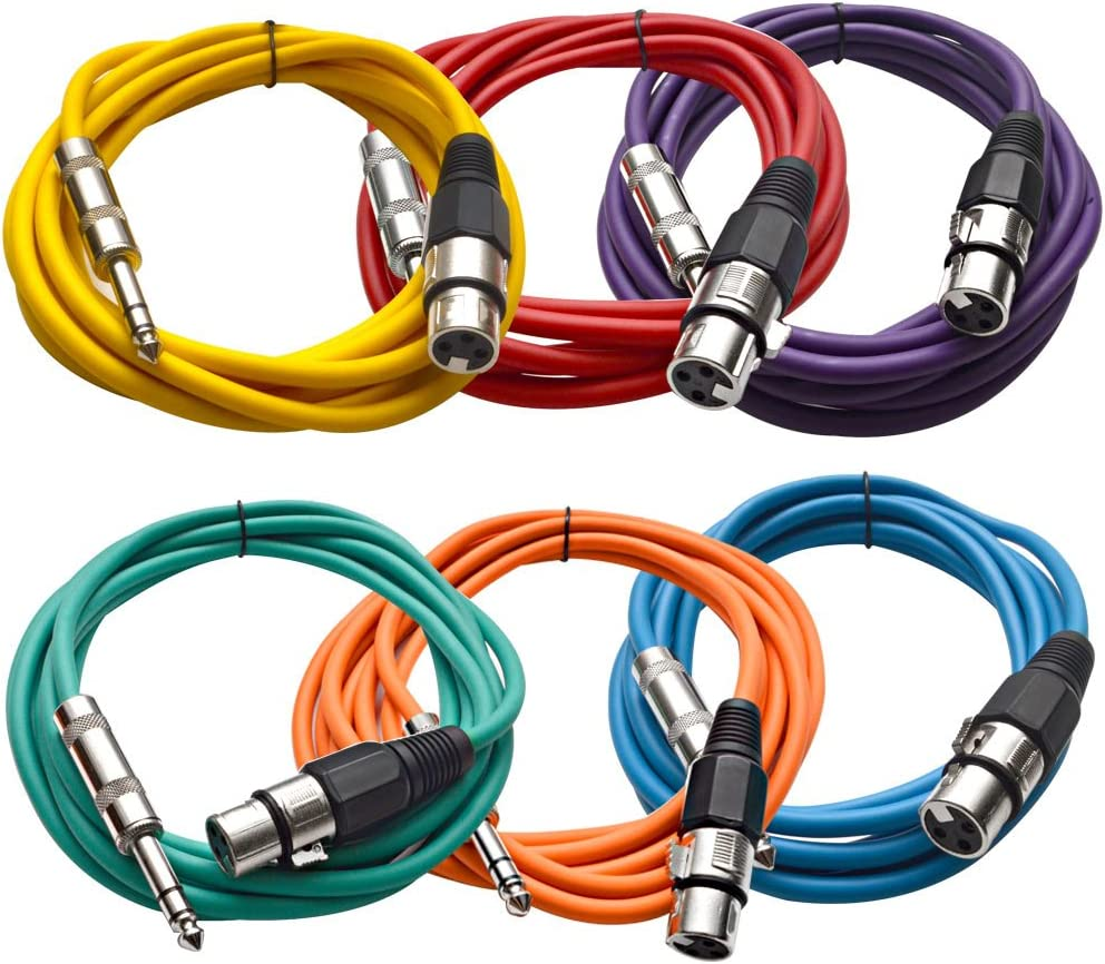 "6 SEISMIC Colored 1//4/"" TRS XLR Female 2/' Patch Cables"