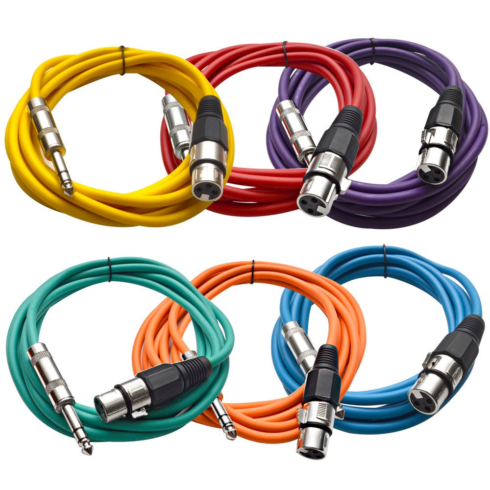 Seismic Audio SATRXL-F10BGORYP 10-Feet XLR Female to 1/4-Inch TRS Patch Cables - Multiple Colors