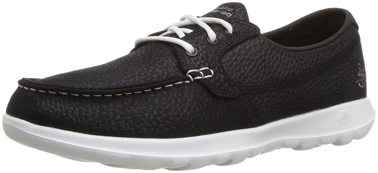 Skechers Women's Go Walk Lite-Eclipse Boat Shoe B075Y2PRMY 10 M US|Black/White