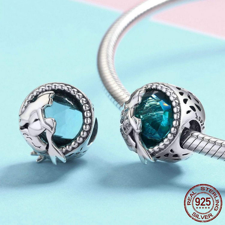 EverReena Romantic Mermaid Charms Silver Beads Bracelets