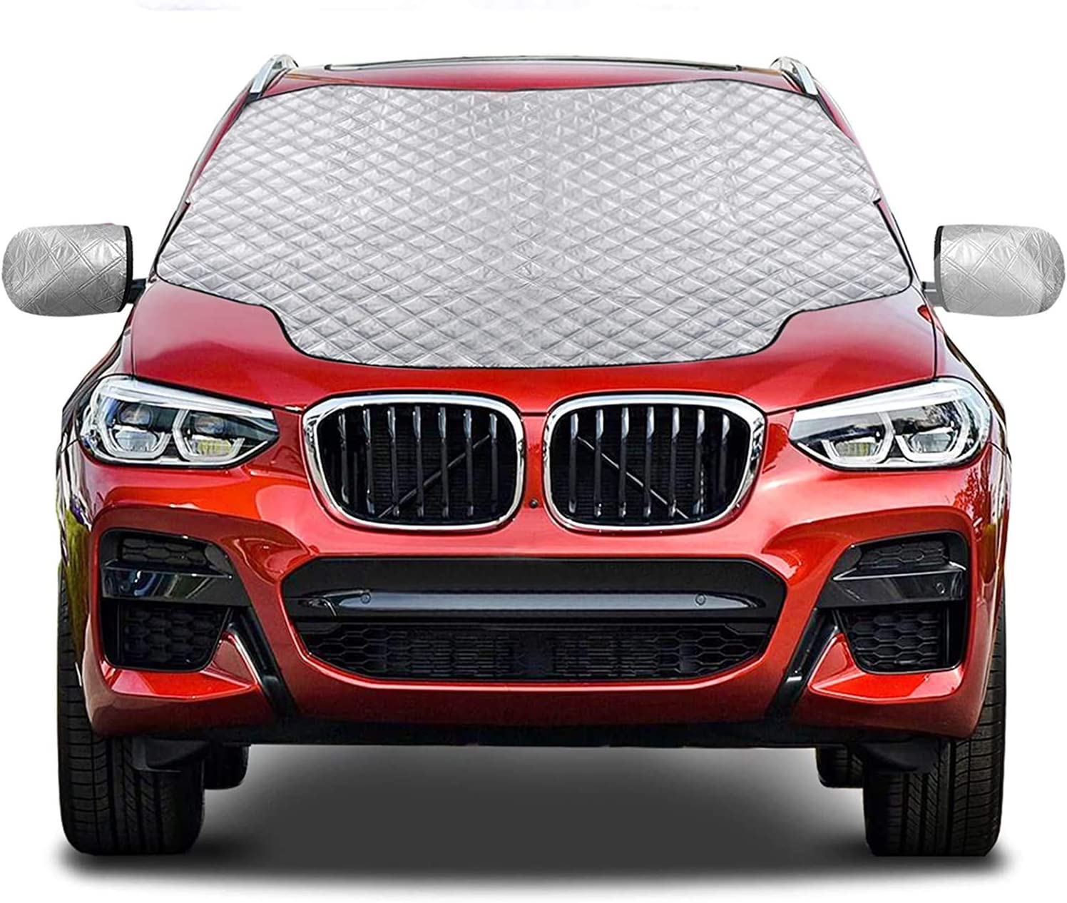 Tenflyer Car Windshield Cover Windshield Magnetic Snow Cover Frost Guard 150/×123cm Fits Most Cars in All Weather Winter Windscreen Cover with Side Wing Mirror Cover Shield Dust Sun Shade UV
