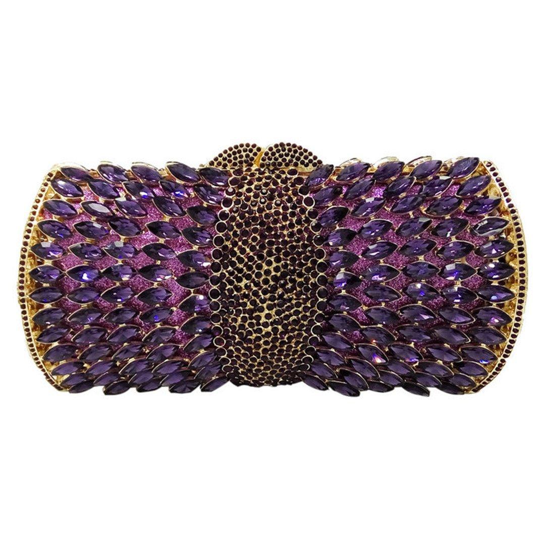 Purple Rhinestone Crystal Dinner Bag Bag Wedding Bridal Diamond Chain Bags Purses Wallet 1 Mini(Max Length<20cm)