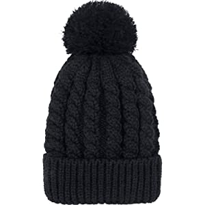 Women s Winter Beanie Warm Fleece Lining - Thick Slouchy Cable Knit Skull  Hat Ski Cap 1852ac80cc4f