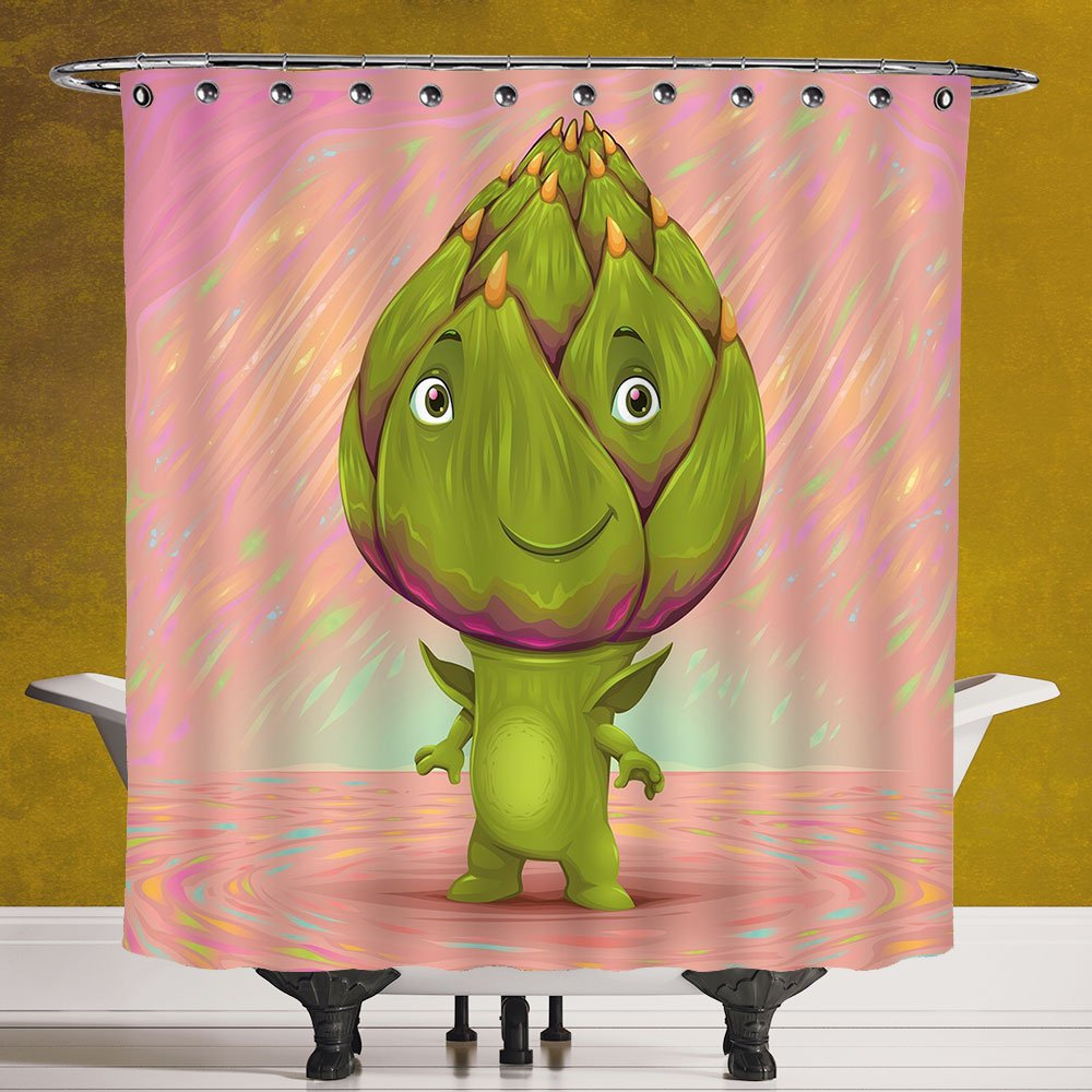 Polyester Shower Curtain 3.0 [Artichoke,Cute Artichoke Character with Little Hands and Feet Healthy Eating Mascot,Green and Rose] Polyester Fabric Bathroom Shower Curtain